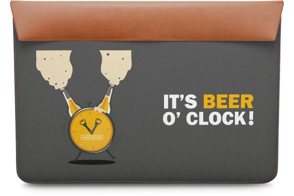 """Beer O'Clock Froth Real Leather Envelope Sleeve For MacBook Pro 13"""""""