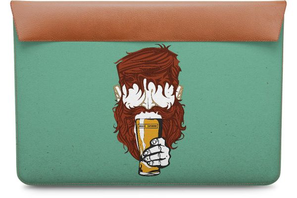 Beer Sphere Beard Real Leather Envelope Sleeve For MacBook 12""