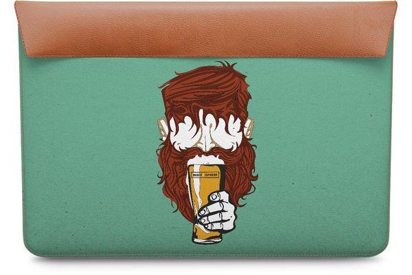 """Beer Sphere Beard Real Leather Envelope Sleeve For MacBook Pro 13"""""""
