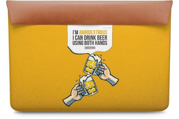 "Beer Chug Real Leather Envelope Sleeve For MacBook Air 11"""