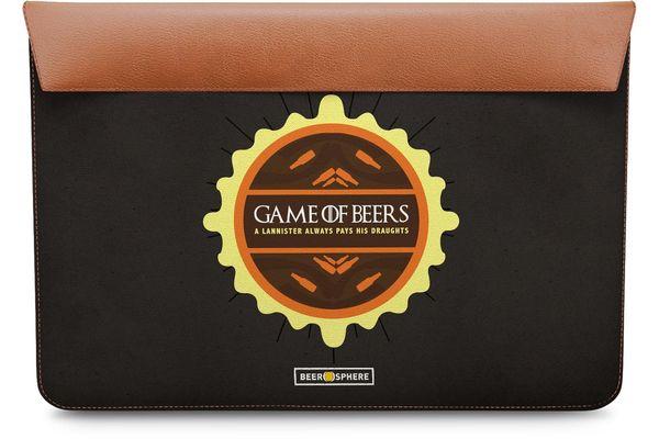 "Beer GoT Real Leather Envelope Sleeve For MacBook Pro 15"""
