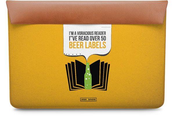 "Beer Labels Real Leather Envelope Sleeve For MacBook Pro 13"""