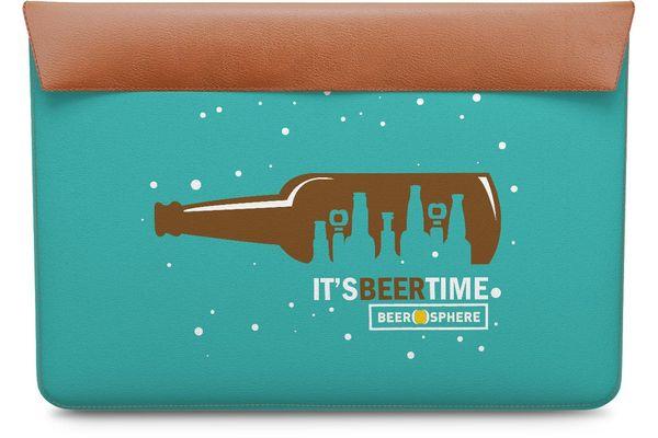 "Beer O'Clock Real Leather Envelope Sleeve For MacBook Air 11"""