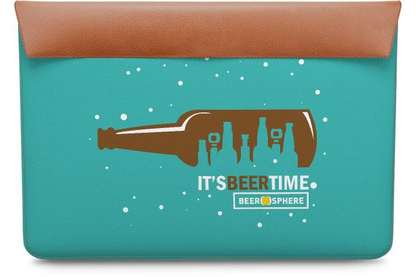 "Beer O'Clock Real Leather Envelope Sleeve For MacBook Air 13"""