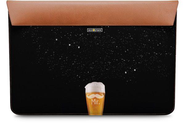 "Mr. Beer Galaxy Real Leather Envelope Sleeve For MacBook Air 13"""