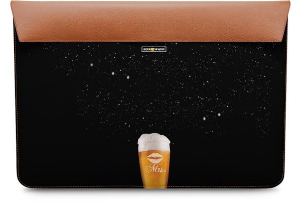 """Mrs. Beer Galaxy Real Leather Envelope Sleeve For MacBook Pro 13"""""""