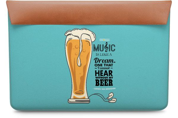 No Beer No Hear Real Leather Envelope Sleeve For MacBook Pro 13""