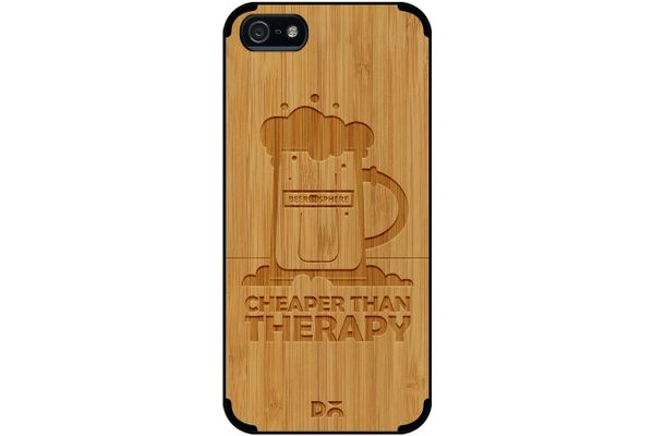 Beer Cheap Therapy Real Wood Bamboo Case For iPhone 5/5S