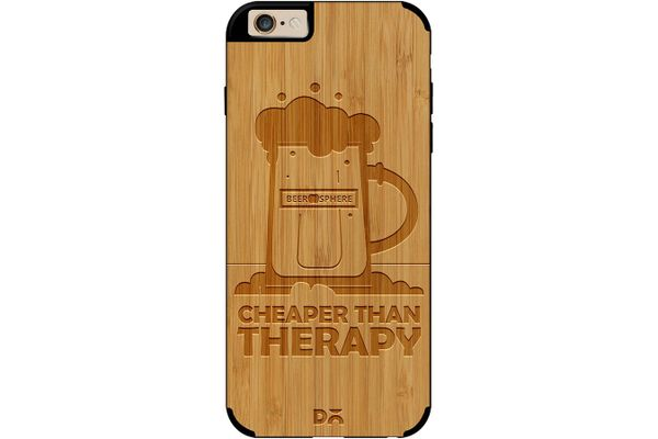 Beer Cheap Therapy Real Wood Bamboo Case For iPhone 6