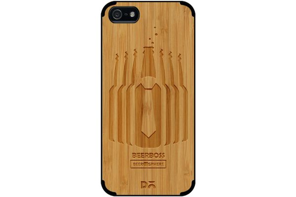 Beer Iz Boss Real Wood Bamboo Case For iPhone 5/5S