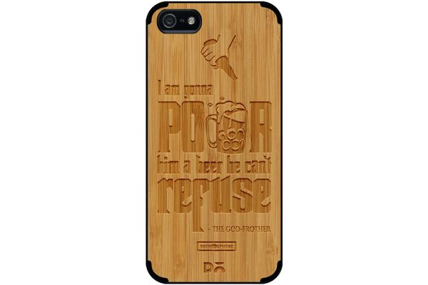 Cant Refuse Beer Real Wood Bamboo Case For iPhone 5/5S