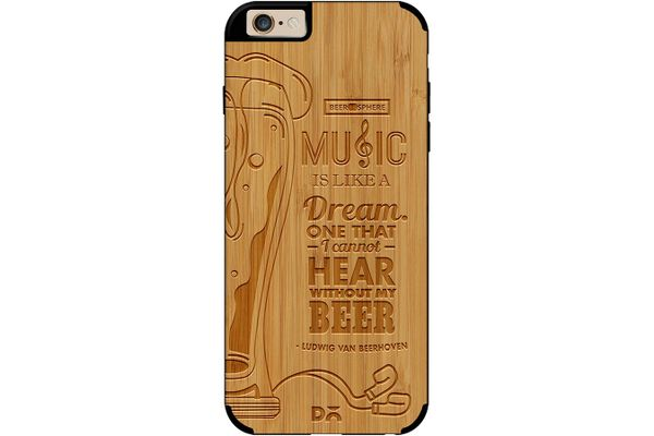 No Beer No Hear Real Wood Bamboo Case For iPhone 6