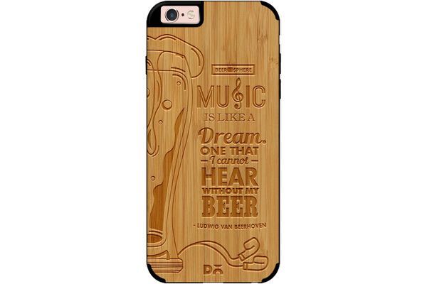 No Beer No Hear Real Wood Bamboo Case For iPhone 6S