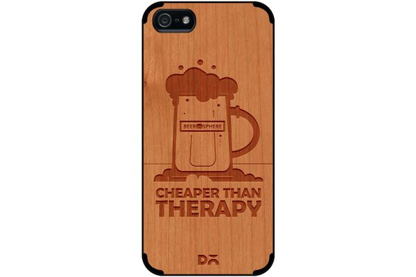 Beer Cheap Therapy Real Wood Cherry Case For iPhone 5/5S