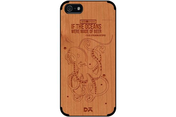 Beer topus Real Wood Cherry Case For iPhone 5/5S