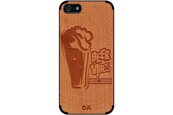 Dizzy Beer Vibes Real Wood Cherry Case For iPhone 5/5S