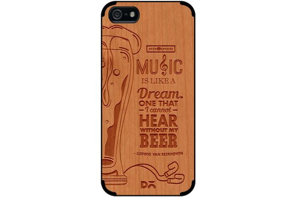 No Beer No Hear Real Wood Cherry Case For iPhone 5/5S