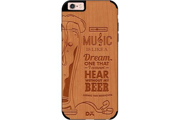 No Beer No Hear Real Wood Cherry Case For iPhone 6S