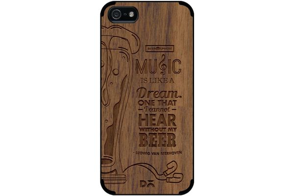 No Beer No Hear Real Wood Maple Case For iPhone 5/5S