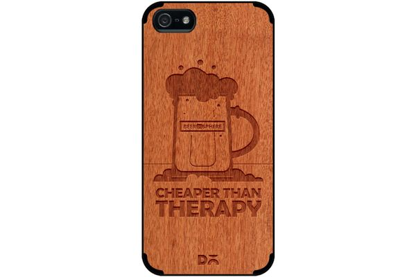Beer Cheap Therapy Real Wood Red Chestnut Case For iPhone 5/5S