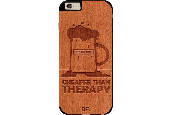Beer Cheap Therapy Real Wood Red Chestnut Case For iPhone 6