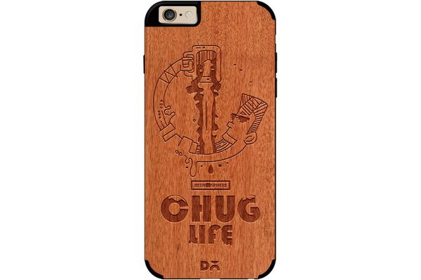 Beer Chug Life Real Wood Red Chestnut Case For iPhone 6
