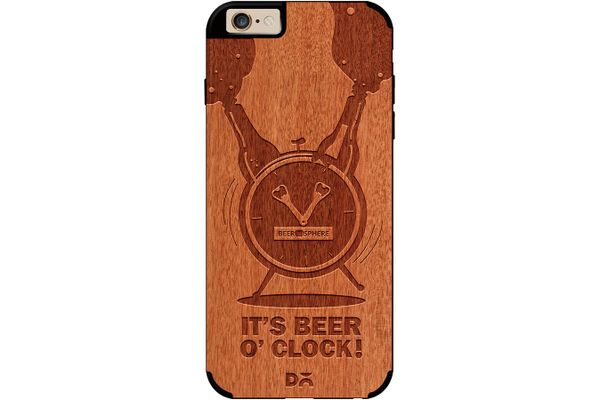 Beer O'Clock Froth Real Wood Red Chestnut Case For iPhone 6