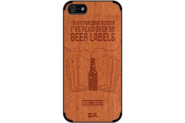 Beer Labels Real Wood Red Chestnut Case For iPhone 5/5S