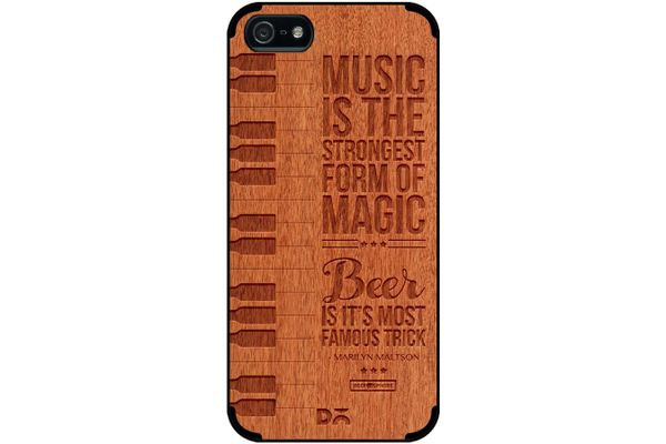 Beer Magic Real Wood Red Chestnut Case For iPhone 5/5S
