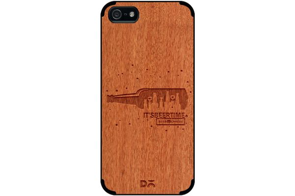 Beer O'Clock Real Wood Red Chestnut Case For iPhone 5/5S