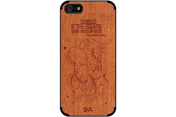 Beer topus Real Wood Red Chestnut Case For iPhone 5/5S
