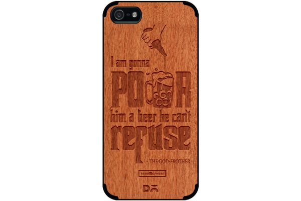 Cant Refuse Beer Real Wood Red Chestnut Case For iPhone 5/5S