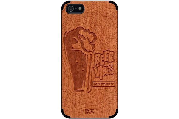 Dizzy Beer Vibes Real Wood Red Chestnut Case For iPhone 5/5S