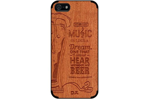 No Beer No Hear Real Wood Red Chestnut Case For iPhone 5/5S