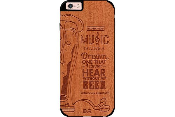 No Beer No Hear Real Wood Red Chestnut Case For iPhone 6S