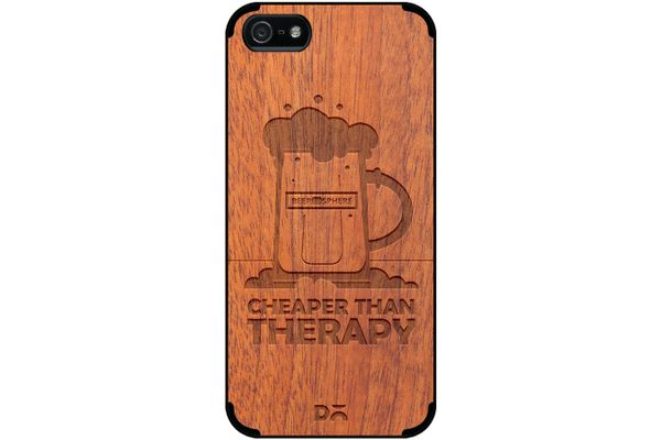 Beer Cheap Therapy Real Wood Sapele Case For iPhone 5/5S