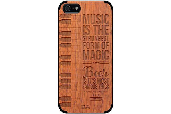 Beer Magic Real Wood Sapele Case For iPhone 5/5S