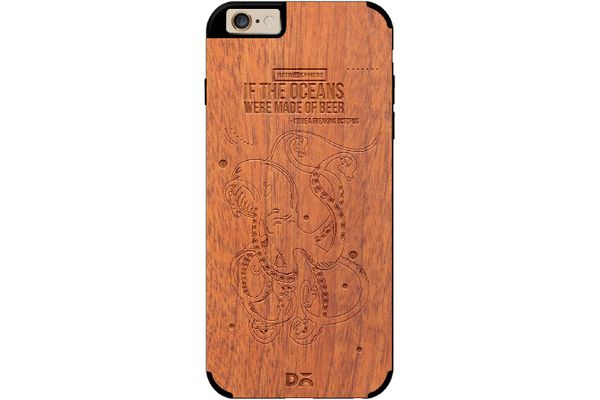 Beer topus Real Wood Sapele Case For iPhone 6
