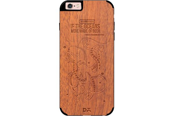 Beer topus Real Wood Sapele Case For iPhone 6S