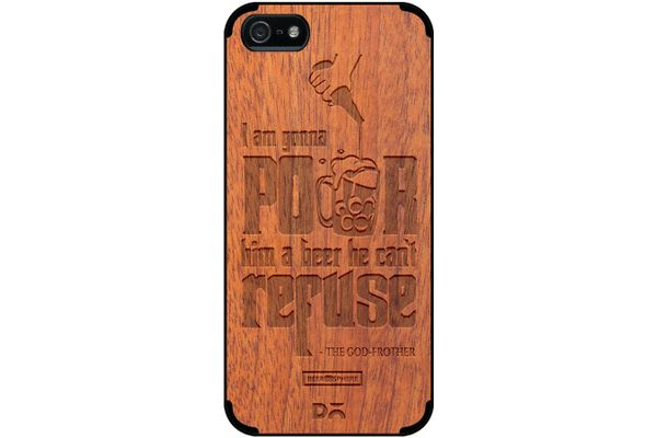 Cant Refuse Beer Real Wood Sapele Case For iPhone 5/5S