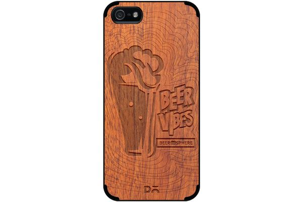 Dizzy Beer Vibes Real Wood Sapele Case For iPhone 5/5S