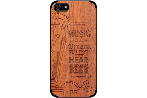 No Beer No Hear Real Wood Sapele Case For iPhone 5/5S