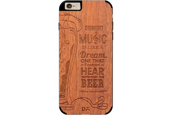 No Beer No Hear Real Wood Sapele Case For iPhone 6