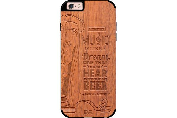 No Beer No Hear Real Wood Sapele Case For iPhone 6S