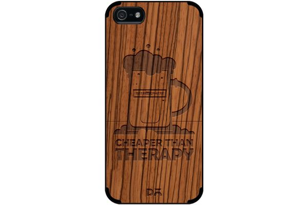 Beer Cheap Therapy Real Wood Zebra Case For iPhone 5/5S