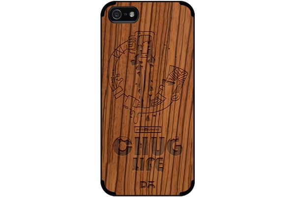 Beer Chug Life Real Wood Zebra Case For iPhone 5/5S