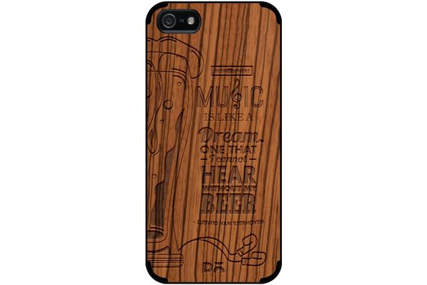 No Beer No Hear Real Wood Zebra Case For iPhone 5/5S