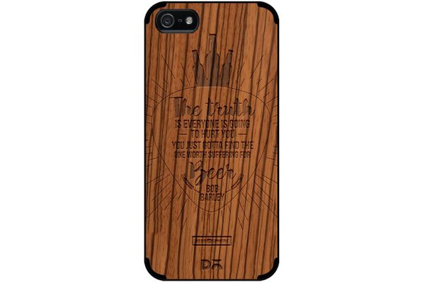 Truth Is Beer Real Wood Zebra Case For iPhone 5/5S