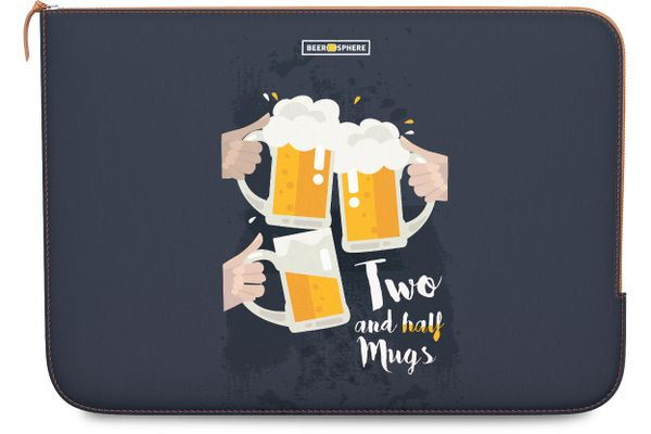 Beer 2.5 Mugs Clink Real Leather Zippered Sleeve For MacBook Pro 13""