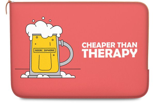 """Beer Cheap Therapy Real Leather Zippered Sleeve For MacBook Pro 15"""""""